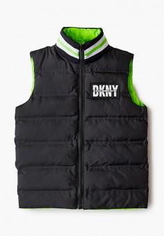 Жилет утепленный, DKNY, цвет: зеленый, черный. Артикул: DK001EBKJJH8. Мальчикам / Одежда / Верхняя одежда