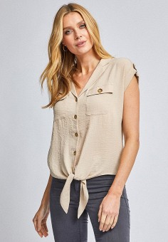 Блуза, Dorothy Perkins, цвет: бежевый. Артикул: DO005EWITGY3. Одежда / Блузы и рубашки