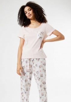 Пижама, Dorothy Perkins, цвет: белый, розовый. Артикул: DO005EWIVSD4. Одежда / Домашняя одежда / Пижамы