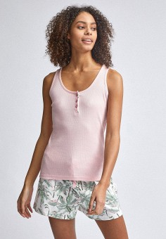 Пижама, Dorothy Perkins, цвет: белый, розовый. Артикул: DO005EWIZUH1. Одежда / Домашняя одежда / Пижамы