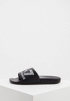 Сланцы, EA7, цвет: черный. Артикул: EA002AUJGMK5. Обувь / Резиновая обувь