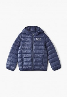 Пуховик, EA7, цвет: синий. Артикул: EA002EBDRDY7. Мальчикам / Одежда / Верхняя одежда / Куртки и пуховики