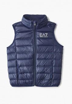 Жилет утепленный, EA7, цвет: синий. Артикул: EA002EBDRDY9. Мальчикам / Одежда / Верхняя одежда