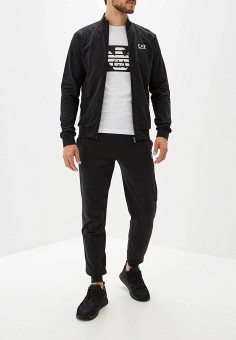 Костюм спортивный, EA7, цвет: черный. Артикул: EA002EMFXFD4. Одежда / Спортивные костюмы