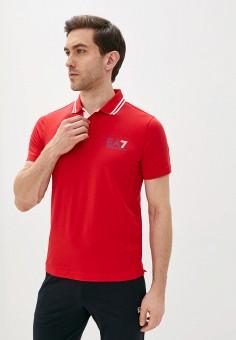 Поло, EA7, цвет: красный. Артикул: EA002EMHLFN9. Одежда / Футболки и поло