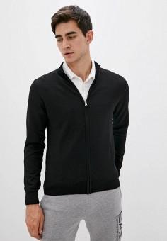 Кардиган, EA7, цвет: черный. Артикул: EA002EMJUUR5. Одежда / Джемперы, свитеры и кардиганы / Кардиганы