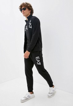 Костюм спортивный, EA7, цвет: черный. Артикул: EA002EMJUUR7. Одежда / Спортивные костюмы