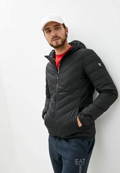 Пуховик, EA7, цвет: черный. Артикул: EA002EMJUUV9. Одежда / Верхняя одежда / Пуховики и зимние куртки