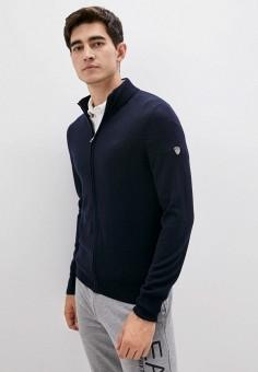 Кардиган, EA7, цвет: синий. Артикул: EA002EMJUVE8. Одежда / Джемперы, свитеры и кардиганы / Кардиганы