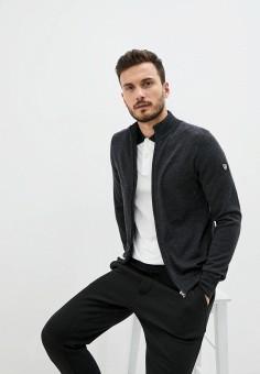 Кардиган, EA7, цвет: серый. Артикул: EA002EMJUVE9. Одежда / Джемперы, свитеры и кардиганы / Кардиганы