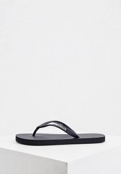 Сланцы, Emporio Armani, цвет: черный. Артикул: EM598AWIVGU8. Обувь / Резиновая обувь