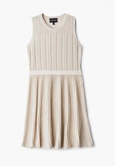 Платье, Emporio Armani, цвет: бежевый. Артикул: EM598EGHNHR0. Девочкам / Одежда / Платья и сарафаны