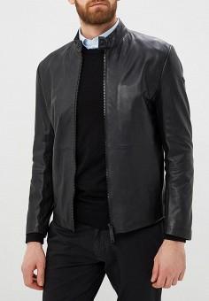 Куртка кожаная, Emporio Armani, цвет: черный. Артикул: EM598EMDPXY2. Одежда / Верхняя одежда / Кожаные куртки