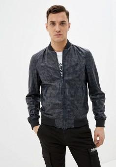 Куртка кожаная, Emporio Armani, цвет: синий. Артикул: EM598EMHNET6. Одежда / Верхняя одежда