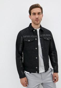 Куртка джинсовая, Emporio Armani, цвет: черный. Артикул: EM598EMJURL3. Одежда / Верхняя одежда / Джинсовые куртки