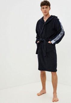 Халат домашний, Emporio Armani, цвет: синий. Артикул: EM598EMKHTQ2. Одежда / Домашняя одежда