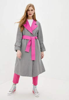 Плащ, Emporio Armani, цвет: серый. Артикул: EM598EWHMXO2. Одежда / Верхняя одежда / Плащи и тренчи