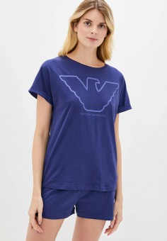 Пижама, Emporio Armani, цвет: синий. Артикул: EM598EWHXPT0. Одежда / Домашняя одежда / Пижамы
