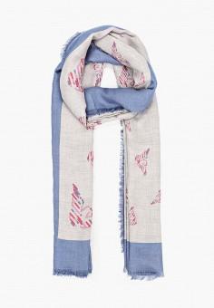Палантин, Emporio Armani, цвет: серый. Артикул: EM598GWJUQZ6. Аксессуары / Платки и шарфы