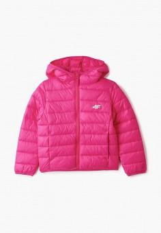 Куртка утепленная, 4F, цвет: розовый. Артикул: FO027EGJCHR8. Девочкам / Одежда / Верхняя одежда / Куртки и пуховики