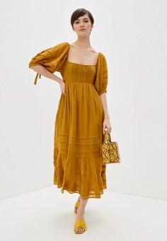 Платье, Free People, цвет: коричневый. Артикул: FR045EWHHUQ8. Одежда / Платья и сарафаны