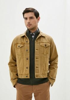 Куртка джинсовая, Gap, цвет: бежевый. Артикул: GA020EMIDKQ6. Одежда / Верхняя одежда / Джинсовые куртки