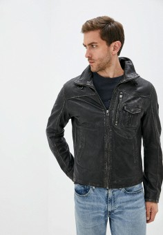 Куртка кожаная, Gipsy, цвет: черный. Артикул: GI038EMJTPW7. Одежда / Верхняя одежда / Кожаные куртки