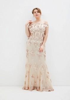 Платье, Goddiva Size Plus, цвет: бежевый. Артикул: GO015EWJCYN0. Одежда / Платья и сарафаны / Вечерние платья