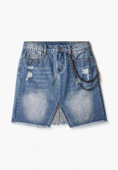 Юбка джинсовая, Gulliver, цвет: синий. Артикул: GU015EGJBAG4.
