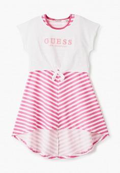 Платье, Guess, цвет: розовый. Артикул: GU460EGHJFV8. Девочкам / Одежда / Платья и сарафаны