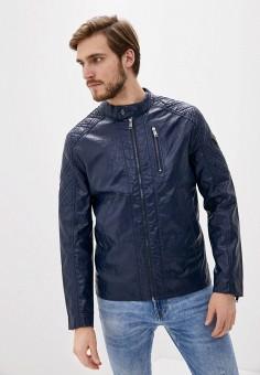 Куртка кожаная, Guess Jeans, цвет: синий. Артикул: GU644EMHIFK8. Одежда / Верхняя одежда / Кожаные куртки