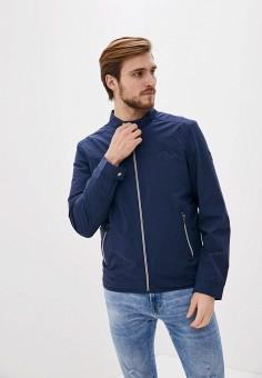 Ветровка, Guess Jeans, цвет: синий. Артикул: GU644EMHIFL0. Одежда / Верхняя одежда / Легкие куртки и ветровки