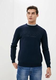 Джемпер, Guess Jeans, цвет: синий. Артикул: GU644EMHSMY6. Одежда / Джемперы, свитеры и кардиганы / Джемперы и пуловеры