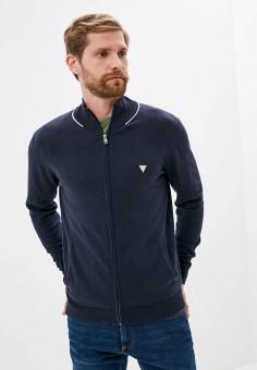 Кардиган, Guess Jeans, цвет: синий. Артикул: GU644EMJLDA0. Одежда / Джемперы, свитеры и кардиганы / Кардиганы