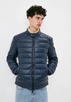 Куртка кожаная, Guess Jeans, цвет: синий. Артикул: GU644EMJLDA8. Одежда / Верхняя одежда / Кожаные куртки