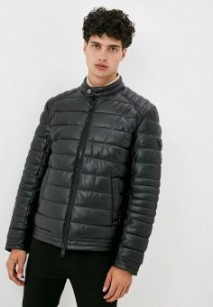 Куртка кожаная, Guess Jeans, цвет: черный. Артикул: GU644EMJLDA9. Одежда / Верхняя одежда / Кожаные куртки