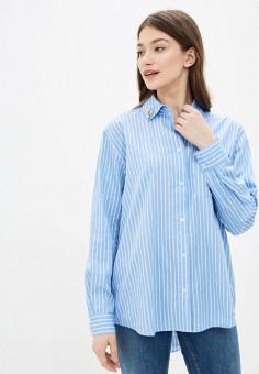 Рубашка, Guess Jeans, цвет: синий. Артикул: GU644EWHMIL8. Одежда / Блузы и рубашки / Рубашки