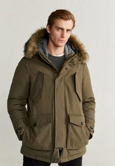 Куртка утепленная, Mango Man, цвет: бежевый. Артикул: HE002EMIEFN8.