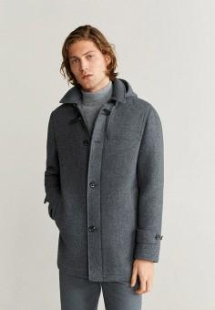 Пальто, Mango Man, цвет: серый. Артикул: HE002EMIEFZ3. Одежда / Верхняя одежда / Пальто