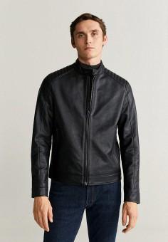 Куртка кожаная, Mango Man, цвет: черный. Артикул: HE002EMIEGA4. Одежда / Верхняя одежда / Кожаные куртки