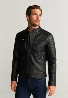 Куртка кожаная, Mango Man, цвет: черный. Артикул: HE002EMIEGA5.