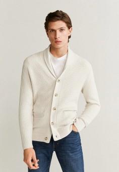 Кардиган, Mango Man, цвет: белый. Артикул: HE002EMIIKH4. Одежда / Джемперы, свитеры и кардиганы / Кардиганы