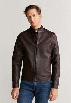 Куртка кожаная, Mango Man, цвет: коричневый. Артикул: HE002EMIION4.