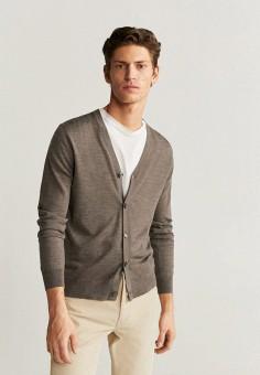 Кардиган, Mango Man, цвет: коричневый. Артикул: HE002EMIION8. Одежда / Джемперы, свитеры и кардиганы / Кардиганы