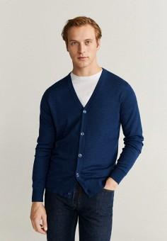 Кардиган, Mango Man, цвет: синий. Артикул: HE002EMIIOW1. Одежда / Джемперы, свитеры и кардиганы / Кардиганы