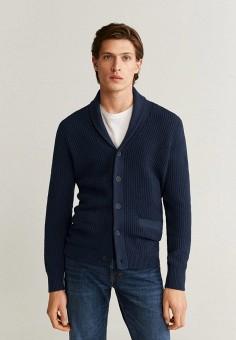 Кардиган, Mango Man, цвет: синий. Артикул: HE002EMIIOX9. Одежда / Джемперы, свитеры и кардиганы / Кардиганы