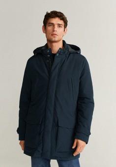 Куртка утепленная, Mango Man, цвет: синий. Артикул: HE002EMIIOZ6. Одежда / Верхняя одежда / Демисезонные куртки