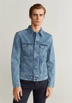 Куртка джинсовая, Mango Man, цвет: голубой. Артикул: HE002EMIIQT9. Одежда / Верхняя одежда / Джинсовые куртки