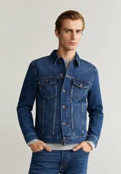 Куртка джинсовая, Mango Man, цвет: синий. Артикул: HE002EMIIQY5. Одежда / Верхняя одежда / Джинсовые куртки