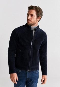 Куртка кожаная, Mango Man, цвет: синий. Артикул: HE002EMIJMR5.